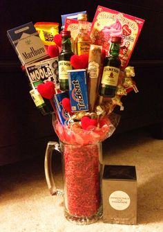 broquet / Valentines day gifts for him. @Valya Sandberg , it's like your man basket!! But in bouquet form!