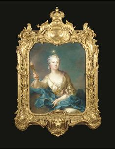 The frame carved by Adrien Masreliez after a design by Jean Eric Rehn, the portrait after François-Adrien Grasognon de Latinville, third quarter 18th Century<br>Depicting Louisa Ulrika as Aurora, with the Morning Star above her head and the Torch of Day in her hand, the elaborately carved and moulded frame decorated with scrolling foliage and flowerheads, the cresting with a winged rockwork cartouche bearing the Royal coat-of-arms of Sweden, the corners with further rockwork cabochons ...