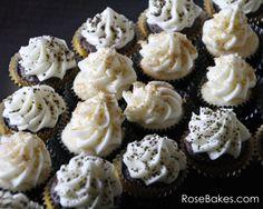 New Orleans Saints Fleur de Lis Cupcakes Display.  Saints Cupcakes!
