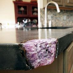 a broken kitchen countertop made amazing with geodes