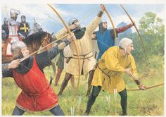 English archers behind a thick hedge shooting at the French cavalry, who are attacking their own infantry brigades