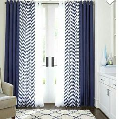 Like the combo of curtain styles Home™ Cotton Classics Broken Chevron Grommet-Top Panel - Blue Curtains Living Room, Blue And White Curtains, Home Curtains, Coastal Living Rooms, Modern Curtains, Double Curtains, Rustic Curtains, Linen Curtains, Kitchen Curtains