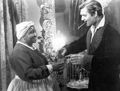 "Hattie McDaniels and Clark Gable, aka Mammy and Rhett Butler....The Atlanta premiere of ""Gone with the Wind"" was marred by the absence of Hattie McDaniel and other black cast members, who were banned due to Georgia's Jim Crow laws. An angry Clark Gable was on the brink of boycotting, but his friend McDaniel reportedly persuaded him to attend."