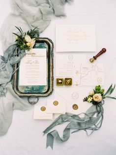 Beautiful flat lay styling including all of the wedding paper details.  I love the use of the style tray in this flat lay. Melbourne Countryside Wedding with a Custom Wedding Dress. #fineartwedding #flatlay #weddingdetails
