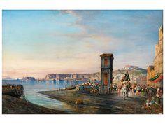 Consalvo Carelli, 1818 Arenella – 1900 Neapel  Vedute von Neapel mit Castello Sant Elmo und Reggia di Capodimonte im Hintergrund Öl auf Holz. 27,5 x 42 cm. Rechts unten signiert und ortsbezeichnet. Blick...