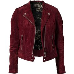 Jofama Marie Biker Jacket (390 CAD) ❤ liked on Polyvore featuring outerwear, jackets, coats, tops, coats & jackets, cherry, womens-fashion, red biker jacket, lined leather jacket and genuine leather jackets