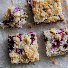 Blueberry Lemon Crumb Bars.  A layer of shortbread crust covered with fresh blueberries.