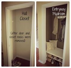 hall closet mudroom images | hall closet turned mudroom EASY, simple- I love it!! | For the Home