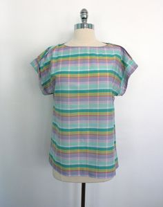 Vintage 70s Shirt / Madras Plaid / Preppy Pastels from ThisBlueBird