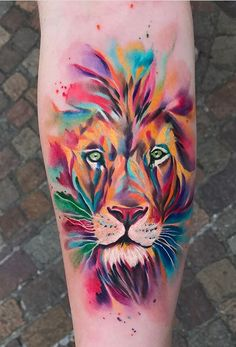 Eye-Catching Lion Tattoos That'll Make You Want To Get Inked - KickAss Things - watercolor lion tattoo Eye-Catching Lion Tattoos That'll Make You Want To Get Inked - KickAss Things - watercolor lion tattoo - Tatuagens de leão Watercolor Tattoos Leo Tattoos, Rose Tattoos, Animal Tattoos, Body Art Tattoos, Sleeve Tattoos, Flower Tattoos, Tattoos Skull, Mini Tattoos, Watercolor Lion Tattoo