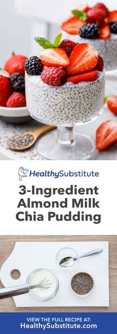 Easy 3 ingredient chia seed pudding with almond milk healthy substitute the best chia seed pudding with 4 different delicious flavors chia delicious chia delicious flavorschia pudding seed Chai Seed Pudding, Chia Pudding Almond Milk, Chocolate Chia Seed Pudding, Vanilla Chia Pudding, Chia Seed Pudding Healthy, Overnight Chia Seed Pudding, Almond Milk Recipes, Chia Seed Almond Milk, Chia Pudding Ratio