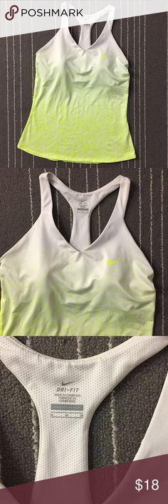 Nike neon yellow white built in bra racerback top In excellent condition. No flaws or imperfections. Size is medium. Built in bra. Ask if have any questions. Nike Tops