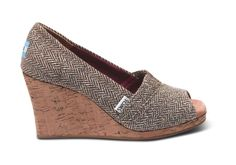 Brown Metallic Herringbone Women's Wedges #toms   I need these in my life