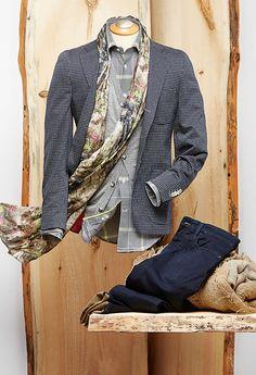 Circle Of Gentlemen  Stretch Blazer Glencheck Shirt Heather Cardigan Tapestry Scarf Knit Jean by 34 Heritage