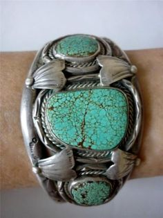 Vintage Navajo Minnie Thomas Turquoise Sterling Silver Bracelet Stamped Designs | eBay