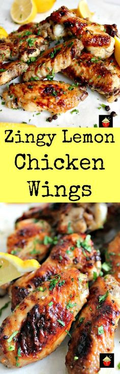Zingy Lemon Butter Chicken Wings. These are lovely chicken wings with a zingy zangy flavor. Easy recipe, baked and oh so good!   Lovefoodies.com