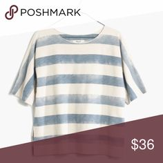 Madewell Cloudstripe Tee Only worn once. Perfect condition.                            Cut from heavy slub cotton with rolled sleeves, a raw-edge neckline and fresh stripes, this might just replace your favorite sweatshirt.   •Slightly boxy, cropped fit. •Cotton. •Machine wash. •Import. Madewell Tops Tees - Short Sleeve
