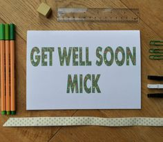 New to weheartcards on Etsy: Get Well Soon card - Personalised card - Bespoke blank card for Get Well Hospital Feel Better Soon Feeling sick? Get Better Greetings Card (9.97 GBP)