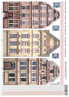 Old building facades Paper Doll House, Paper Houses, Diy Paper, Paper Art, Paper Crafts, Paper Architecture, House Template, Putz Houses, Glitter Houses