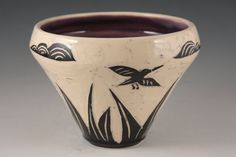 "SALE Stoneware Sgraffito Story Bowl ""The Lake"". $25.00, via Etsy."