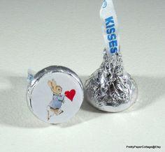 Peter Rabbit Valentine Hershey Kiss Stickers by PrettyPaperCottage
