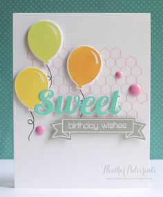 OOooh I love this SWEET Birthday card with yellow balloons great birthday wishes banner too! Distressed Backgrounds and Ink Splats