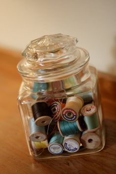 Glass Canister with Vintage Wooden Spools of by NotYoMommasHandbag, $18.00