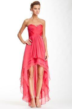 La Femme Pleated Beaded Bodice Hi-Lo Dress by La Femme on @HauteLook