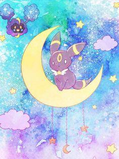 Umbreon is going trough some confusing events, like teleporting to the moon. Pokemon Umbreon, Pokemon Team, Pokemon Fan Art, Poke Pokemon, Ghost Pokemon, Eevee Evolutions, Pokemon Comics, All Pokemon, Kawaii Anime