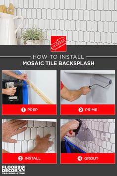 Learn how to install a mosaic tile backsplash from Floor & Decor! – Before and Afters Remodel Ideas Glass Tile Backsplash, Mosaic Tiles, Install Backsplash, Home Fix, Tile Installation, Kitchen Collection, Paint Colors For Home, Floor Decor, Kitchen Redo