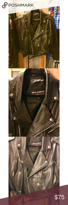 Leather Motorcycle Jacket Vintage real leather motorcycle jacket in good vintage condition.  Has belt and fits a little oversized for a large and falls at the waist for a cropped look. Wilsons Leather Jackets & Coats