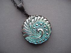 Ocean Wave Necklace  Glass Button Necklace by SilverTrumpetJewelry
