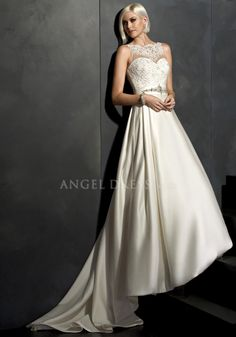 Fabulous Satin & Lace A line Bateau Neck Floor Length Sleeveless Wedding Dress