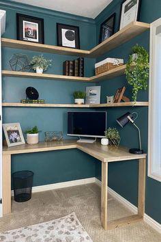 Herringbone L-Shaped Corner Desk Tutorial   Honey Built Home Diy Furniture Easy, Furniture Makeover, Upcycled Home Decor, Diy Home Decor, L Shaped Corner Desk, Corner Desk Diy, Oak Stain, Desk Styling, Woodworking Projects Diy
