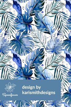 Tropical Plants in Indigo by karismithdesigns - Hand painted watercolor monstera, palm, and other tropical leaves on fabric, wallpaper, and gift wrap. These hand painted tropical leaves are painted in gorgeous tones of blue, indigo, green, and jade. The perfect monstera pattern for wallpapering a kitchen or accent wall in a tropical themed room. Click to see more hand painted watercolor designs by this indie designer. #tropical #design #monstera #paint #watercolor #blue #indigo #palms…