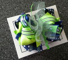 GO SEAHAWKS!!!!!   Large Seattle Seahawks Superstacked hairbow by tallulahtwinkletoes, $9.00