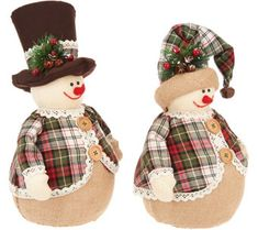 Set of 2 Snowmen with Hats and Plaid Coats by Valerie — QVC Gingerbread Christmas Decor, Diy Christmas Ornaments, Christmas Snowman, Christmas Decorations, Sock Snowman Craft, Snowman Crafts, Christmas Crafts, Christmas 2019, Red Berry Wreath