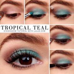 Tutorial on How-To: Tropical Teal Eyeshadow Tutorial by Amy Carhartt. Check out more Makeup on Bellashoot. Beautiful Eye Makeup, Cute Makeup, Makeup Looks, Beauty Make-up, Beauty Skin, Beauty Hacks, Beauty Tips, Concealer, Teal Eyeshadow