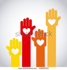 hands up over gray background vector illustration  - stock vector