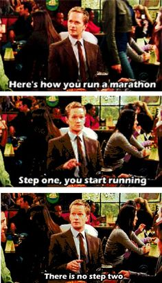 How to run a marathon Running Jokes, Running Tips, Workout Humor, Workout Quotes, Born To Run, Running Inspiration, Sweat It Out, How I Met Your Mother, Get Moving