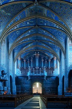 Exquisite cathedral ceiling in rich shades of blues. Heavenly!