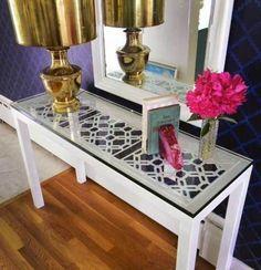 EASY DIY - spray painted media cabinet + trellis design