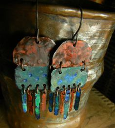 Colorful Patina Copper Earrings Rustic Handmade by ChrysalisToo