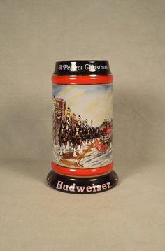 1992 Budweiser Beer Collectible Stein Mug, Christmas Holiday