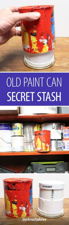 Disguise your valuables in plain sight by transforming an old paint can into a secret stash. Lego Storage, Hidden Storage, Diy Storage, Storage Ideas, Upcycled Crafts, Diy Crafts, Adult Crafts, Cheap Storage Sheds, Rustic Toys
