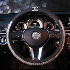 $62.28 Funky Chanel Diamond PU Leather Auto Car Steering Wheel Covers 15 inch 38CM - Black, Selected high-grade PU Leather, do not fall off, Inner ring using Natural rubber, Green, No stimulation, Non-Slip, Excellent breathability, pest control, sterilization, anti-static, Easy to clean, no deformation, high wear resistance, Four Seasons General.