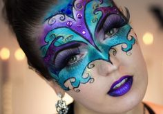 How fab is this Venetian mask makeup? Pair it with a ball gown for a gorgeous—not gruesome—Halloween look. #halloween #costume