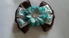 Brown and Teal Diamond Flower Hair Bow for by GloriaMillerCreation, $6.50