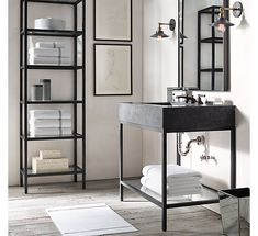 RH's Hudson Metal Single Washstand:We looked to the last century to inform our collection& aesthetic, creating an open-back sink and matching storage with the minimalist lines of the Minimalist Bathroom, Modern Bathroom, Small Bathroom, Master Bathroom, Bathroom Ideas, Industrial Bathroom Vanity, Bathroom Laundry, Bathroom Taps, Bathroom Cleaning