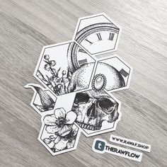 Dotwork clock flowers skull tattoo design with hexagons - high resolution file download: www.rawaf.shop